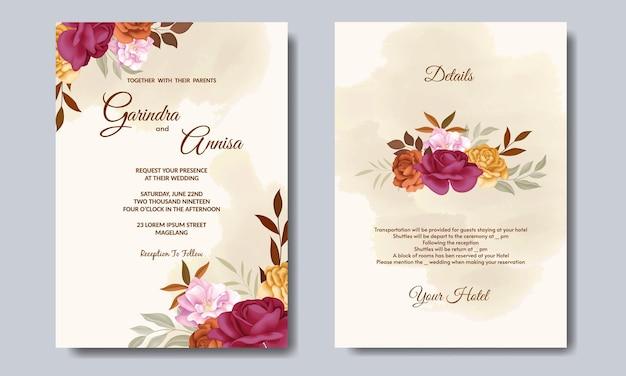 Elegante hochzeitseinladungskarte mit schöner herbstblumen- und blattschablone