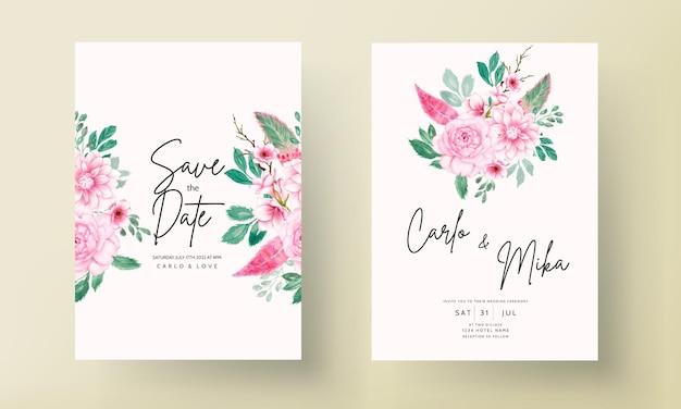 Elegante hochzeitseinladungskarte mit zartrosa aquarell blumenornament