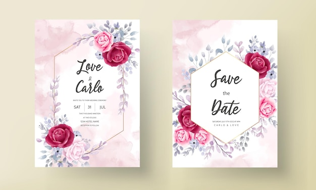 Elegante hochzeitseinladungskarte stellte aquarellblume und -blätter ein