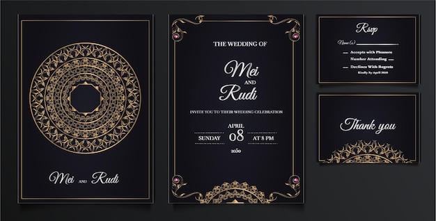 Elegante hochzeitseinladungskarten gesetzt