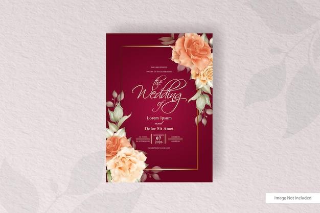 Elegante hochzeitseinladungskarten-satzschablone mit blumen und blättern. vintage rustikale anordnung