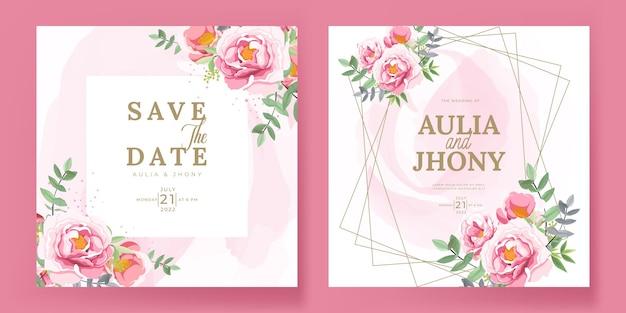 Elegante hochzeitseinladungskarten-satzschablone mit schönen blumen und blättern
