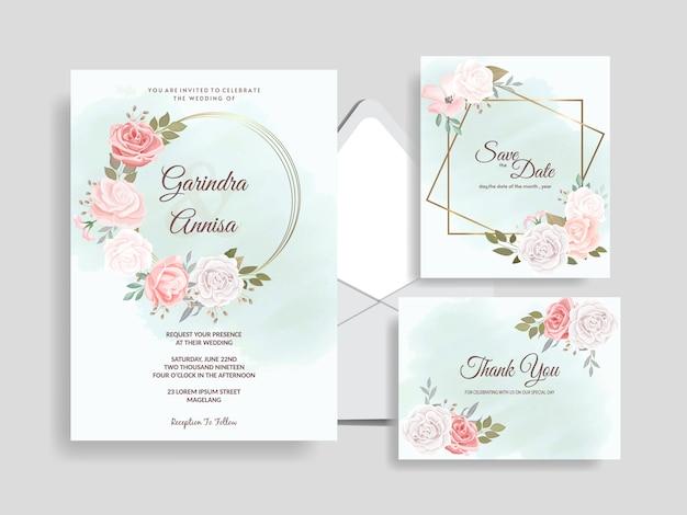 Elegante hochzeitseinladungskartenschablone eingestellt mit schönen blumenblättern premium