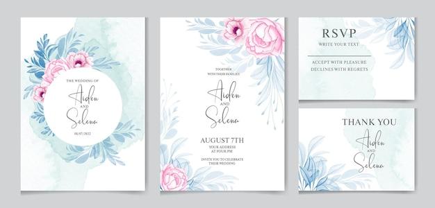 Elegante hochzeitseinladungskartenschablone gesetzt mit pfirsichrosenblumen und schönen blättern