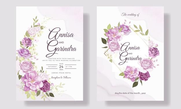 Elegante hochzeitseinladungskartenschablone gesetzt mit schönem lila blumen- und blattschablone