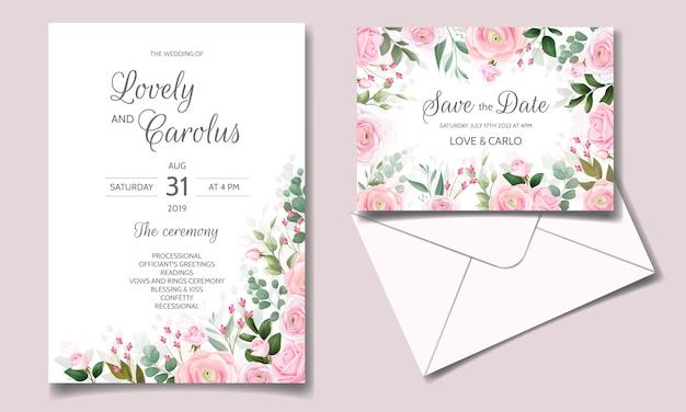 Elegante hochzeitseinladungskartenschablone gesetzt mit schönen rosa rosen und grünen blättern