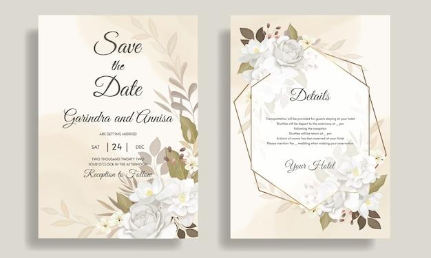 Elegante hochzeitseinladungskartenschablone gesetzt mit schönen weißen blumen und blättern