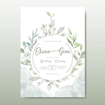 Elegante hochzeitseinladungskartenschablone mit aquarellblättern