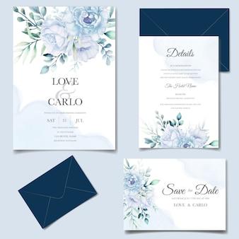Elegante hochzeitseinladungskartenschablone mit aquarellblume und -blättern