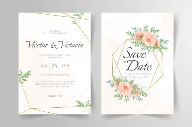 Elegante hochzeitseinladungskartenschablone mit aquarellblumendekoration