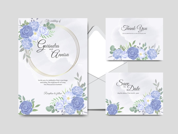 Elegante hochzeitseinladungskartenschablone mit blauem blumenmuster und blättern