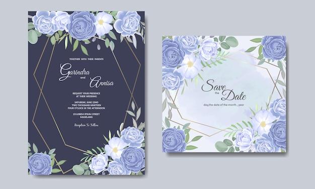 Elegante hochzeitseinladungskartenschablone mit blauen blumen und blättern