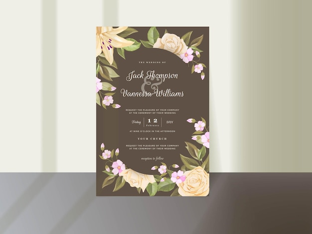 Elegante hochzeitseinladungskartenschablone mit blumen und blättern