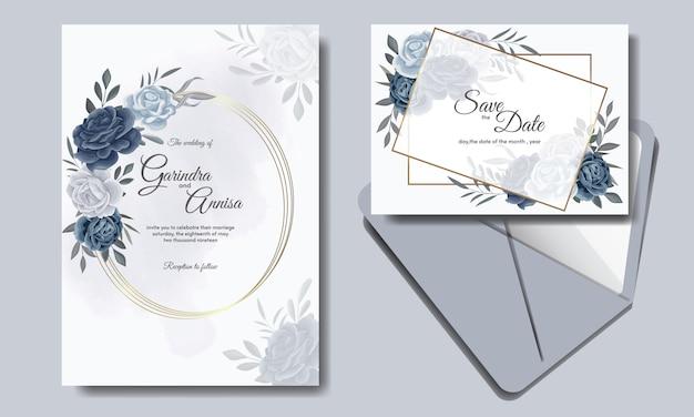Elegante hochzeitseinladungskartenschablone mit blumen und verlässt marineblau