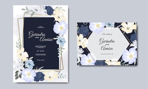 Elegante hochzeitseinladungskartenschablone mit buntem floralen marineblau-premiumvektor