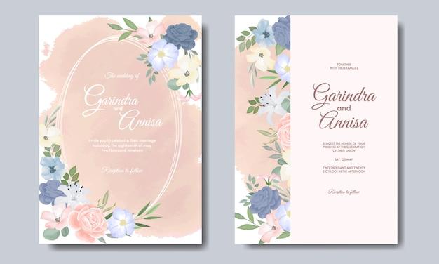 Elegante hochzeitseinladungskartenschablone mit colouful blumen und blättern