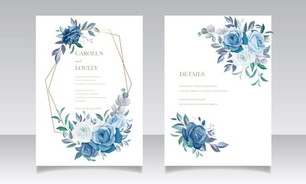 Elegante hochzeitseinladungskartenschablone mit schönem blauem blumenrahmen