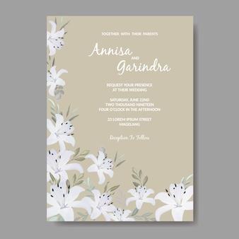 Elegante hochzeitseinladungskartenschablone mit weißen blumen und blättern