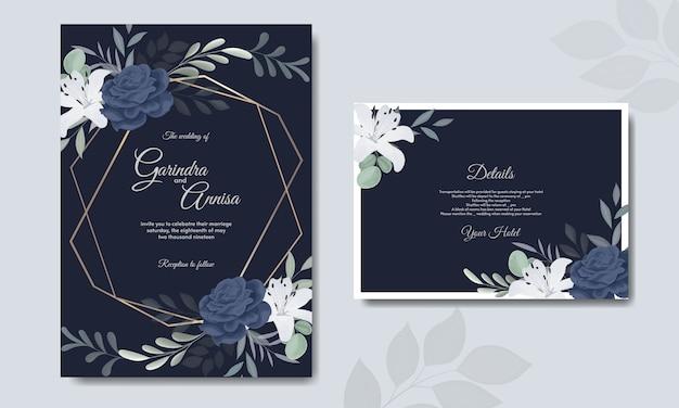 Elegante hochzeitseinladungskartenschablone mit weißer blume marineblau
