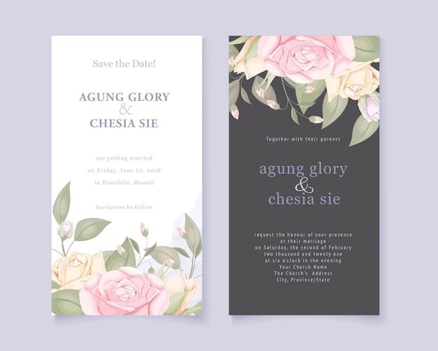 Elegante hochzeitseinladungskartenset mit rosen und blättern