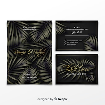 Elegante hochzeitseinladungssammlung mit tropischen blättern