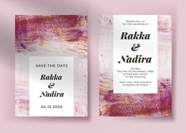 Elegante hochzeitseinladungsschablone mit abstrakter malerei rosa