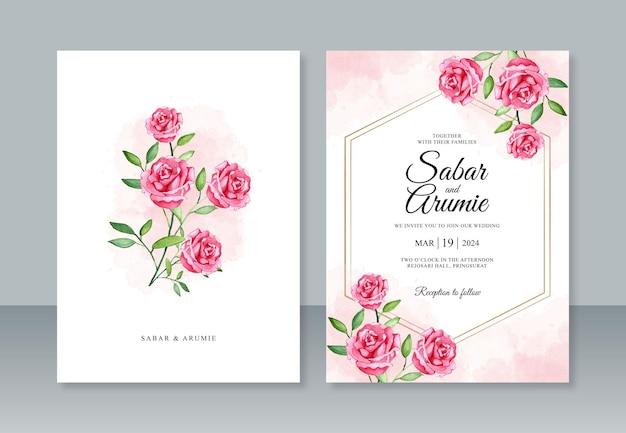 Elegante hochzeitseinladungsschablone mit rosenaquarellmalerei
