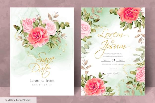 Elegante hochzeitseinladungsvorlage mit handgezeichneter blumen- und eukalyptusblätter-anordnung