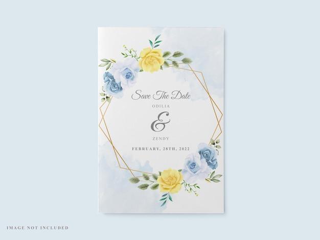 Elegante hochzeitskarte blumenaquarell