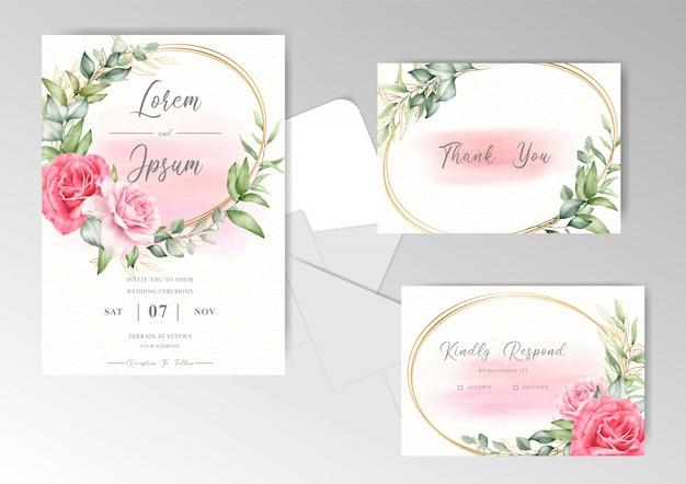 Elegante hochzeitskarte mit aquarell-cremigem spritzhintergrund und blumen
