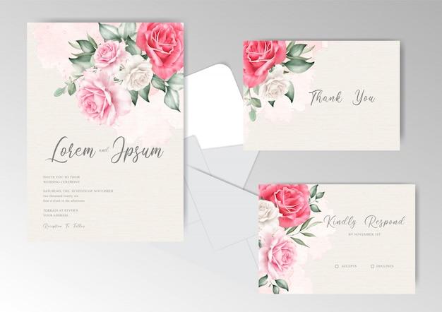 Elegante hochzeitskarte mit aquarell-spritzhintergrund und blumen