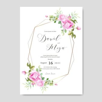 Elegante hochzeitskarte mit blumen- und blattrahmenschablone