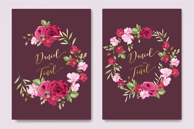 Elegante hochzeitskarte mit blumen- und blattschablone