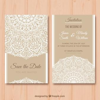 Elegante hochzeitskarte mit mandala-design