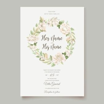 Elegante hochzeitskarte mit schöner blumen- und blattschablone