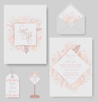 Elegante hochzeitskarten bestehen aus verschiedenen blumenarten.