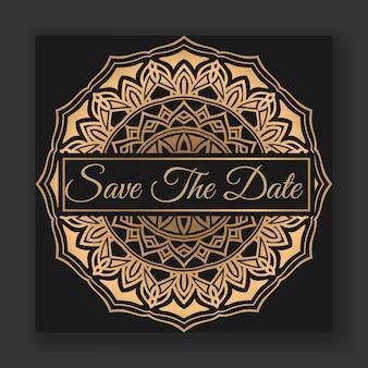 Elegante hochzeitskarten-einladung mit mandala-vorlage