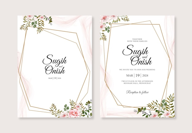 Elegante hochzeitskarteneinladungsschablone mit aquarellblumen