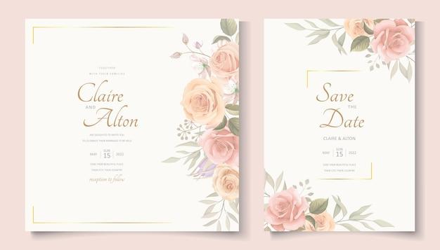 Elegante hochzeitskartenschablone mit blühender rosenverzierung