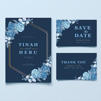 Elegante hochzeitskartenschablone mit cleassic blauen blumen und blättern
