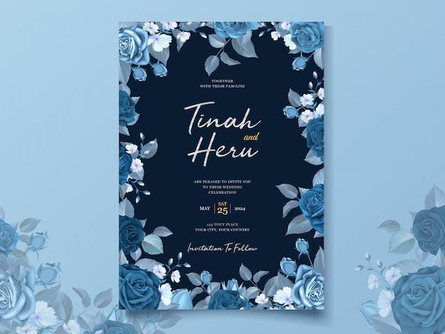 Elegante hochzeitskartenschablone mit klassischem blauem blumenmuster und blättern