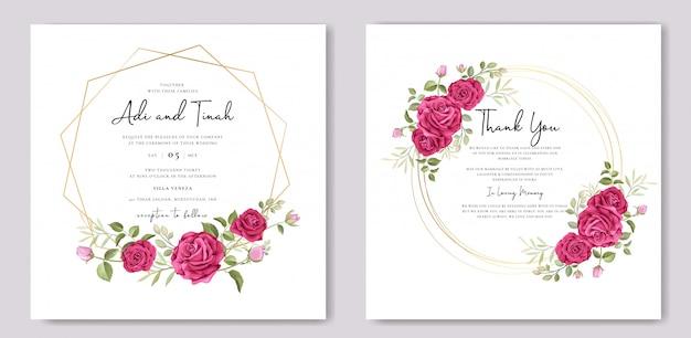 Elegante hochzeitskartenschablone mit schönem rosenkranz