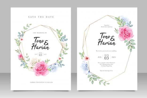 Elegante hochzeitskartenschablone mit schönen rosa rosen und blättern