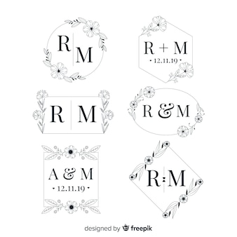 Elegante hochzeitsmonogramm-logosammlung