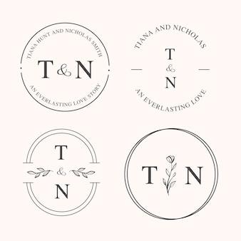 Elegante hochzeitssammlung logos