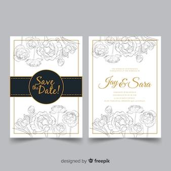 Elegante Hochzeitsschablone mit Pfingstrosenblumen