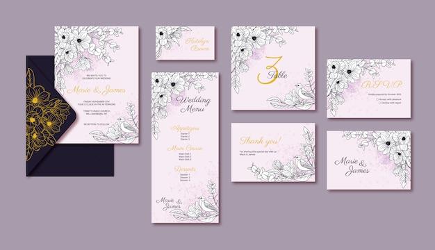 Elegante hochzeitsschablonenkarten mit magnolienblüte