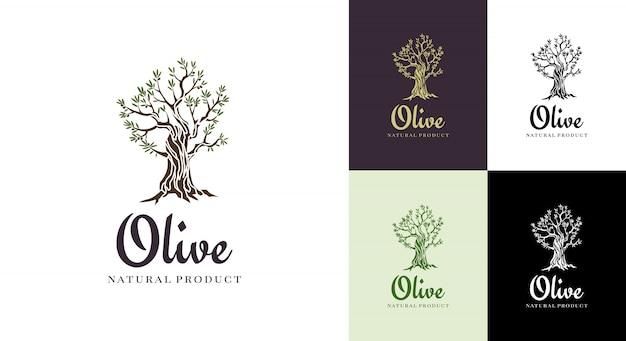 Elegante ikone des eleganten olivenbaums. kreative olivenbaum-silhouette. logo-design für werbeprodukte in premium-qualität