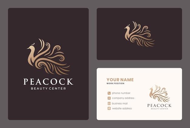 Elegante illustration pfau logo design mit visitenkarte