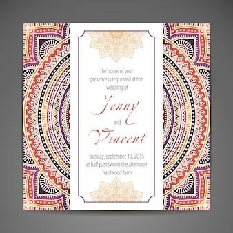 Elegante indische verzierung auf einem dunklen hintergrund stilvolles design kann als grußkarte oder hochzeitseinladung verwendet werden